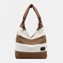 Women Casual Canvas Patchwork Handbag Shoulder Bag