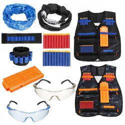 2 Sets Adjustable Kids Tactical Vest Masks Glasses Suit Outdoor Recration Game