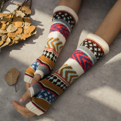 Printed Sleeves Geometric Irregular Pattern Sleeves Glove
