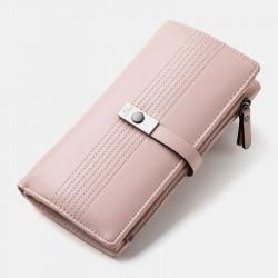 Women 12 Card Slots Solid Long Wallet Purse Phone Bag