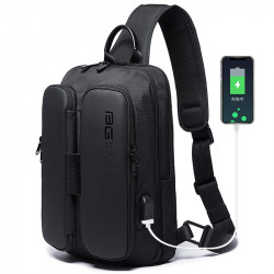 BANGE USB Charging Shoulder Bag Anti Theft Chest Bag Mens Travel Crossbody Bag Messengers Bag