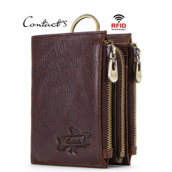 Men Anti-Theft RFID BlockingGenuine Leather Three Zipper Wallet