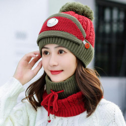 New Mask Bib Two-piece Set Of Plus Thick Knit Hat Warm Earmuffs Mixed Color Wool Beanie Cap