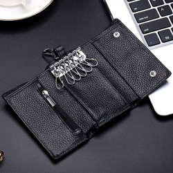 Men Genuine Leather Key Bag Zipper Coin Bag Wallet