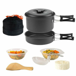1-2 people 9 In 1 Camping Cooking Set Portable Picnic Set Outdoor Cookware Hiking Pan Pot Bowls
