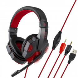 3.5mm USB Gaming Headset Bass Headphone Cool LED Light Over Ear Stereo Headphone