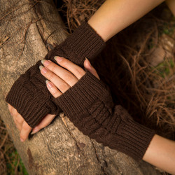 Female Wool Knit Half Finger Typing Diamond Finger Glove