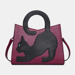Women Fashion Popular Cute Cat Pattern Patchwork Handbag Crossbody Bag