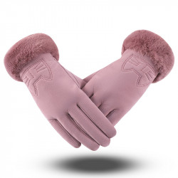 Winter Women's Mouth Breathing Skin Plus Velvet Thicken Warm Artificial Leather Gloves Cute Cat Embroidery Glove