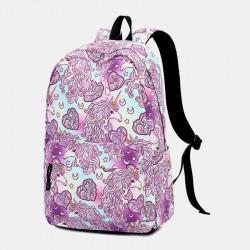 Women Large Capacity Print Waterproof Backpack School Bag