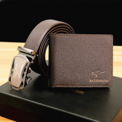 Men Fashion Genuine Leather Thin Wallet Card Holder With Belt Gift