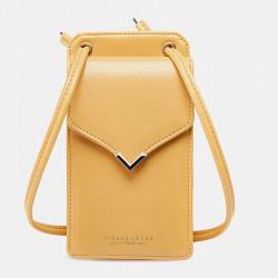 Women Faux Leather Casual Solid Phone Bag Shoulder Bag Crossbody Bag