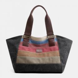 Women Large Capacity Canvas Casual Stripe Handbag Shoulder Bag For Shopping