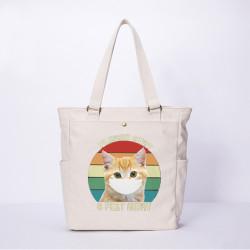 Women Cartoon Cat Mask Printed Canvas Shoulder Bag Handbag