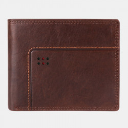 Men Vintage Genuine Leather RFID Blocking Anti-theft Wallet
