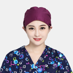 Surgical Cap Beauty Strap Solid Color Beautician Hat Scrub Caps