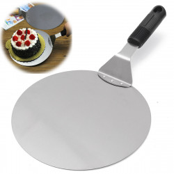 Stainless Steel Round Cake Pizza Shovel Lifter Flipper BBQ Stone Oven Paddle Spatula Peel Tray Pan Pizza Plate