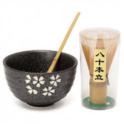 Natural Bamboo Matcha Green Tea Powder Plus Optional Whisk, Scoop, Bowl Set