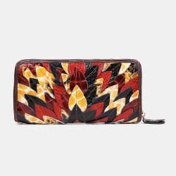Women Genuine Leather Patchwork Vintage Wallet Purse Clutches Bag