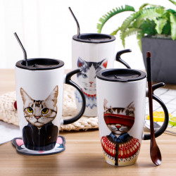 Personalized Cat Creative Trend Water Cup Home Office Coffee Cup Large Capacity Ceramic Mug
