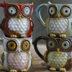 Creative Colorful Ceramic Crafts Owl Shaped Cup Drinking Water Cup Ceramic Cup