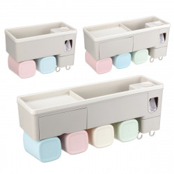Toothbrush Holder Toothpaste Squeezer Stand Organizer Plastic Bathroom Storage Rack Set