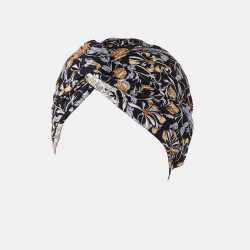 Women Flower Printing Turban Hat Cotton Casual Breathable Head Cap
