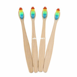 4Pcs / Lot Rainbow Bamboo Handle Toothbrush Eco Wooden Bamboo