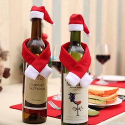1Set Bottle Cover Hat Wrap Scarf Christmas Decoration Santa