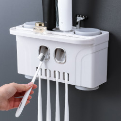 Bathroom Wall-Mounted Four-Cup Toothbrush Holder Nail-Free