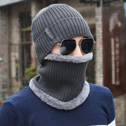 2017 Winter Man Hat Men'S Caps Neckerchief Warm Scarf Knit