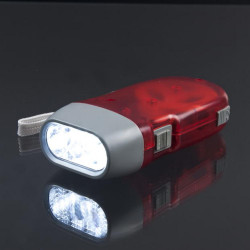 1 Pcs 3 Led Dynamo Wind Up Red Flash Light Nr Torch  Light Cam