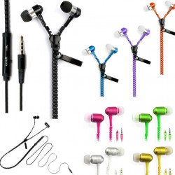 In-Ear Zip Zipper Stereo Headphones Headphone Earphone