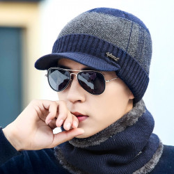 Men Winter Knit Hat Cap + Scarf Warm Shawl Neck Wrap Sets
