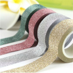 15Mm * 5M Glitter Washi Tape Set Japanese Stationery Scrapbook