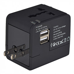 Travel Ac Adapter Power Plug Outlet With Dual Usb Charger Uk