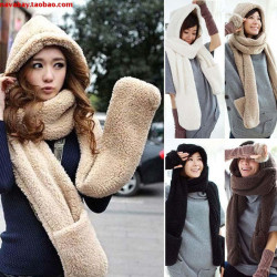 Female 2017 Women Winter Fashion Fur Warm Scarf  Hat Gloves